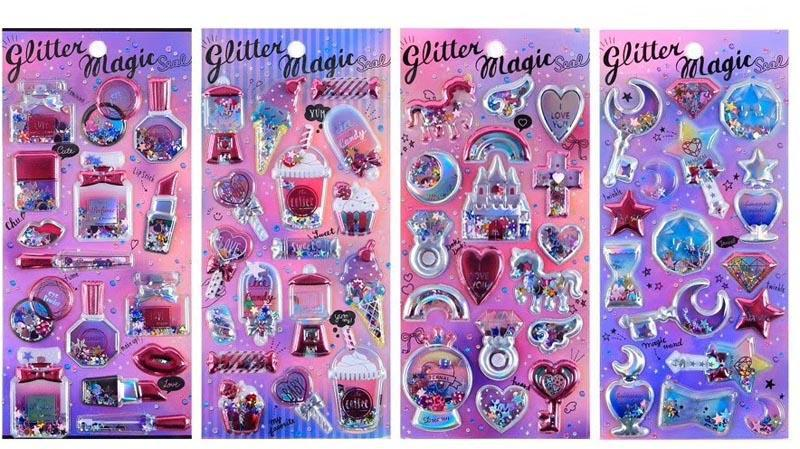Premium Glitter Puff up Stickers Stickers One Dollar Only