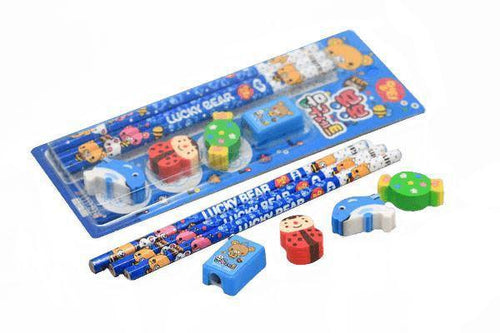 7 pieces Stationery Set (Pencils, Erasers & Sharpener)