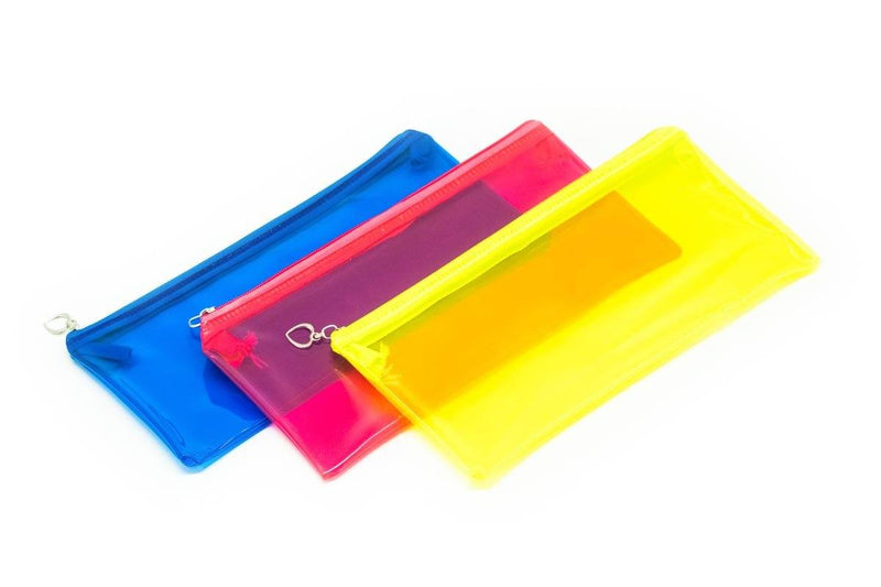 Neon PVC Zipper Pencil Case Cases One Dollar Only