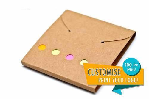 Post It Tabs + Pad, Paper (Brown Cover),  - Everyday Stationery,Corporate Gift Ideas,Printable/Customizable,Post-Its - One Dollar Only