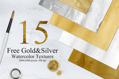 15 Free Gold & Silver Watercolor Textures - Pixel Surplus