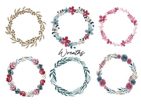 Free Navy & Burgundy Watercolor Graphics