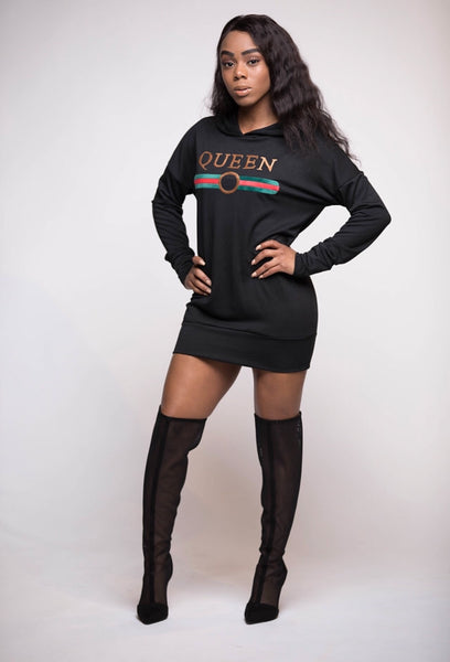 Queen Hoodie Dress (Black Only)