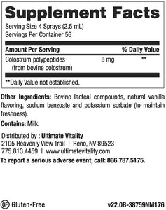 Ultimate Vitality Immune PRP Spray Colostrum Polypeptides from Bovine Colostrum - 5 Ounces