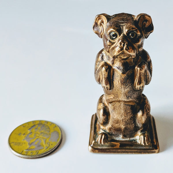 Brass Antique Begging Dog Tape Measure - Geared Up Pup