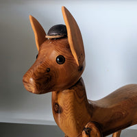 Mid Century Modern Wood Puppy Sculpture - Geared Up Pup