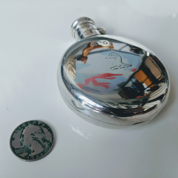 Antique Victorian Circular Flask with Dog Crest (Sterling)