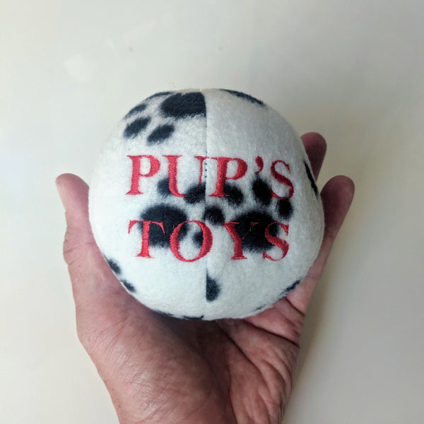 "Fuzzy Ball Embroidered ""PUP'S TOYS"" - Geared Up Pup"