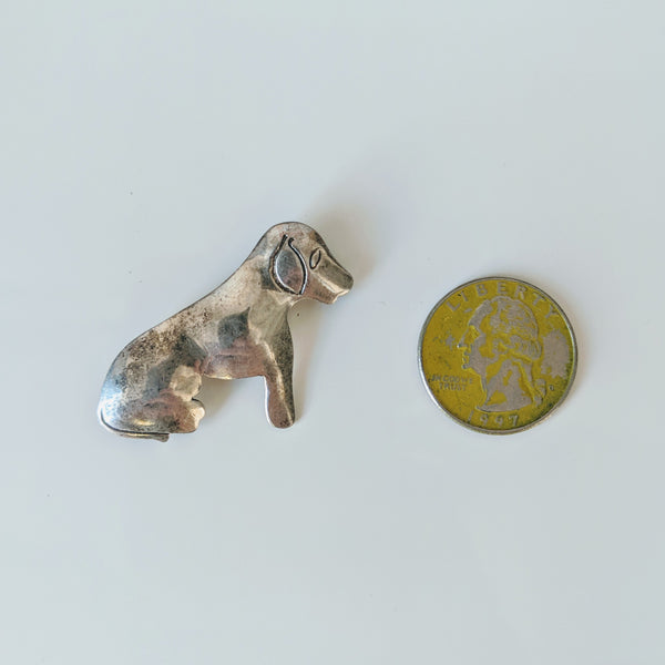 Sitting Puppy Pin (Sterling) - Geared Up Pup