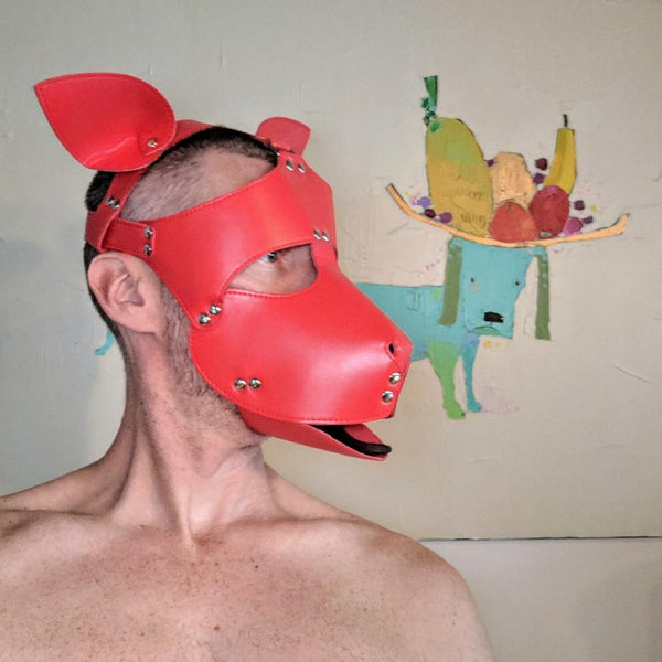 RED Puppy Dog Mask - Geared Up Pup