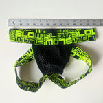 Andrew Christian BLOW! Jock-Black Mesh Lime Green Medium Used