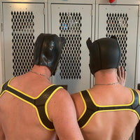 Yellow Piping Black Neoprene Harness - Geared Up Pup
