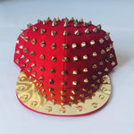 Mirrored Spikes Cap-Red - Geared Up Pup