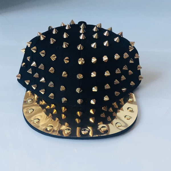 Mirrored Spikes Cap-Black - Geared Up Pup