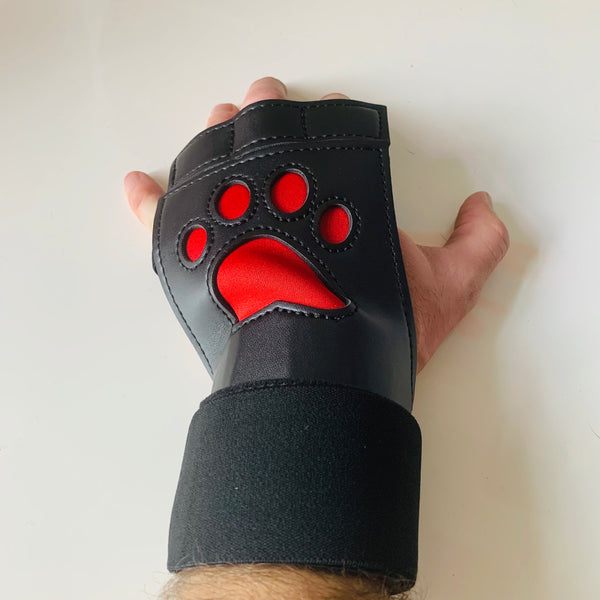 Red Paw Fingerless Mitts