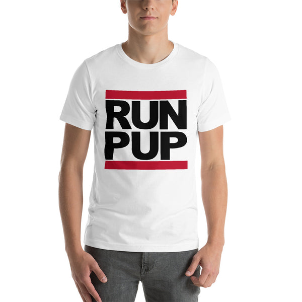 T-Shirt-RUN PUP in white - Geared Up Pup