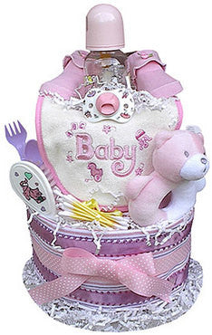 2 Tiered Girl's Diaper Cake