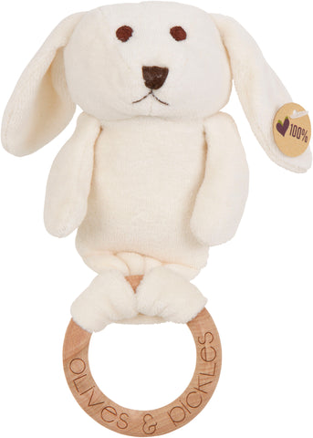 Olives & Pickles Organic Plush Wooden Teether – Bunny Sebastien