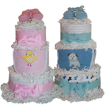 3 Tiered Diaper Cake for your Shower in Pink or Blue