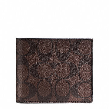 COACH MENS DOUBLE BILLFOLD WALLET IN CALF LEATHER