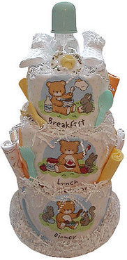 Diaper Cake celebrating Breakfast, Lunch & Dinner (3 tiered)