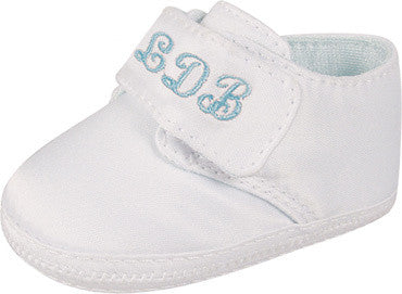 Keepsake White Embroidery Oxford Boys Crib Shoes (Personalized)