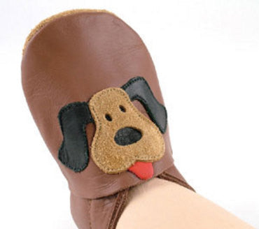 Bobux Soft-Soled Eco-Leather Shoes- Brown Dog