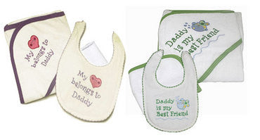 Infant Hooded Towel Set with Dad Theme