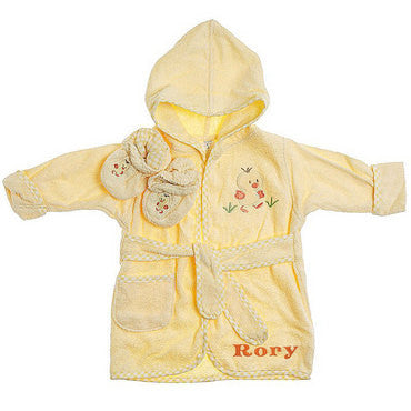 Embroidered Ducky Bathrobe/Slipper Set