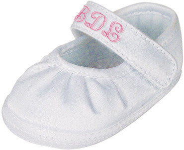 Keepsake White Embroidery Satin Girls Crib Shoes (Personalized)