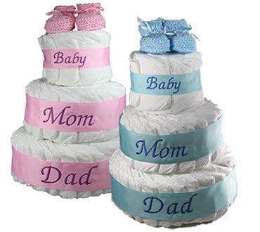 3 Tiered Diaper Cake announcing Mom, Dad and Baby