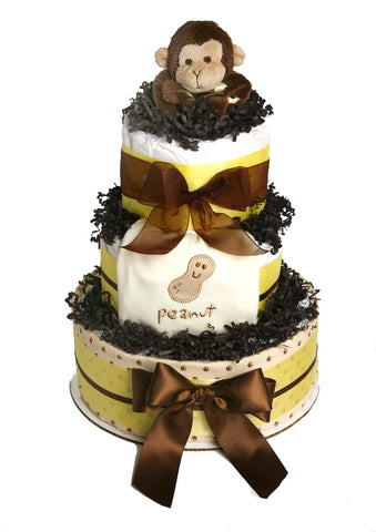 Monkey and Peanut diaper cake