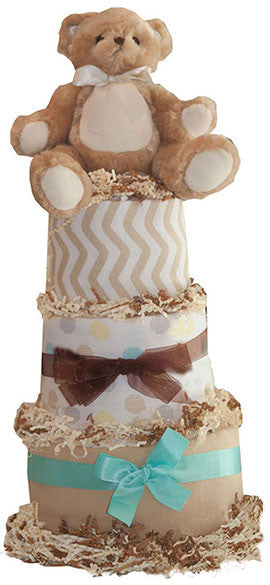 Teddy Bears Baby Shower Diaper Cake for Boys - 3 Tiered