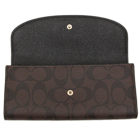 SLIM ENVELOPE WALLET IN CROSSGRAIN LEATHER & SIGNATURE COATED CANVAS