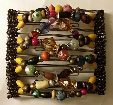 9 Tooth - HAIR JEWELRY - Multi-color.  Unique, handmade, one of a kind. Boho Chic hair comb.