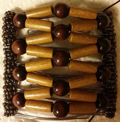 9 tooth - brown mix, chunky wood beads
