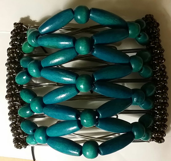9 tooth, turquoise wood beads