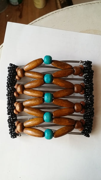 9 tooth brown and turquoise color wood beads