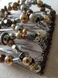 9 tooth comb with mixed metal color  beads
