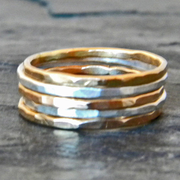 Silver and Gold Stacking Ring Set