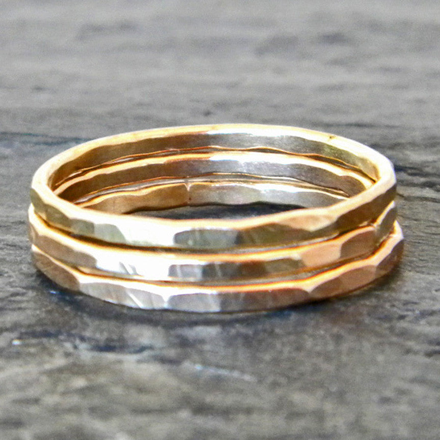 Gold Rings for Women - Thin Stacking Rings - Hammered Rings