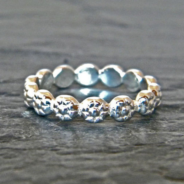 Flower Band Ring - Silver Thumb Ring