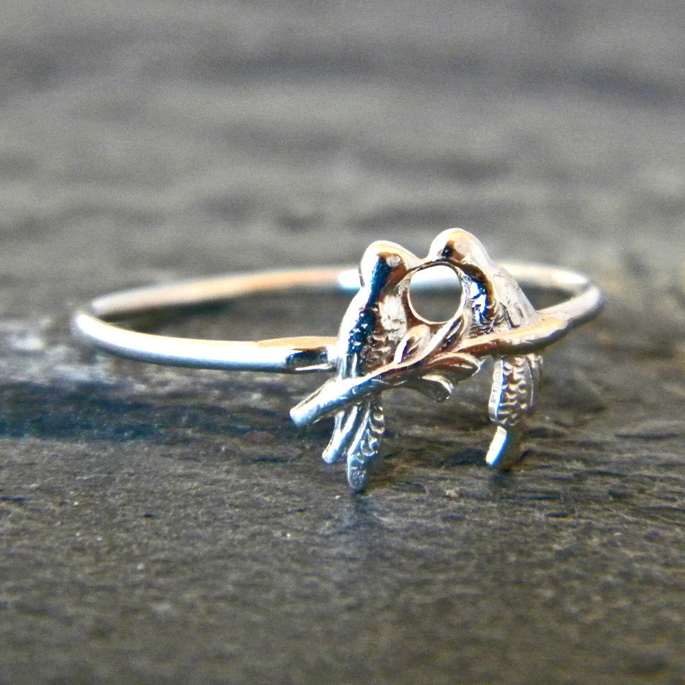 Silver Love Bird Ring - Sterling Silver Stacking Ring - Anniversary Gift for Her
