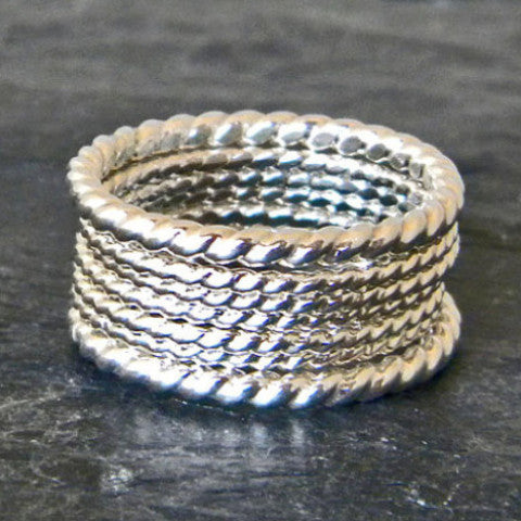 Silver Stacking Ring Set of 7 - Silver Twist Ring