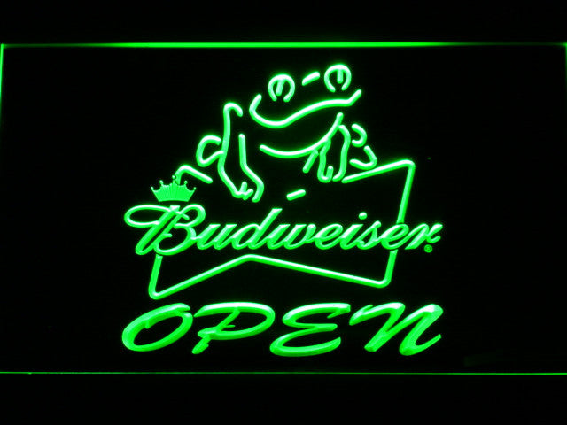 Budweiser Frog Beer OPEN Bar LED Sign - Green - TheLedHeroes