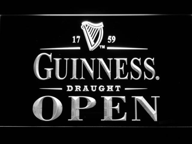 FREE Guinness Draught Open LED Sign - White - TheLedHeroes