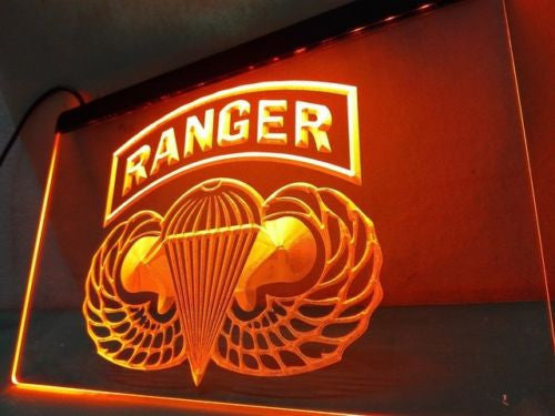 US Army Ranger Parawings LED Sign - Orange - TheLedHeroes