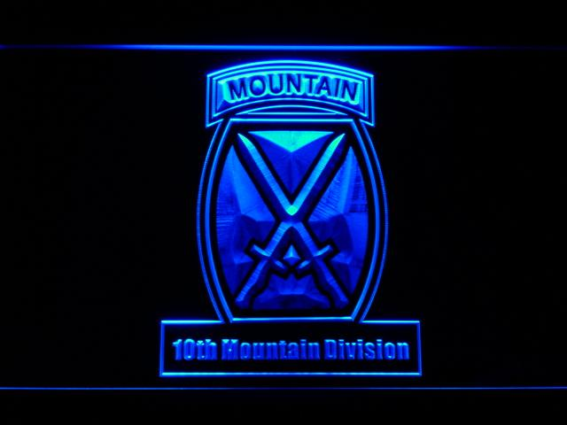 10th Mountain Division LED Neon Sign Electrical - Blue - TheLedHeroes