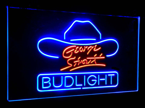 George Strait Bud Light Dual Color LED Sign - Normal Size (12x8.5in) - TheLedHeroes