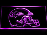 Baltimore Ravens Helmet LED Neon Sign USB - Purple - TheLedHeroes
